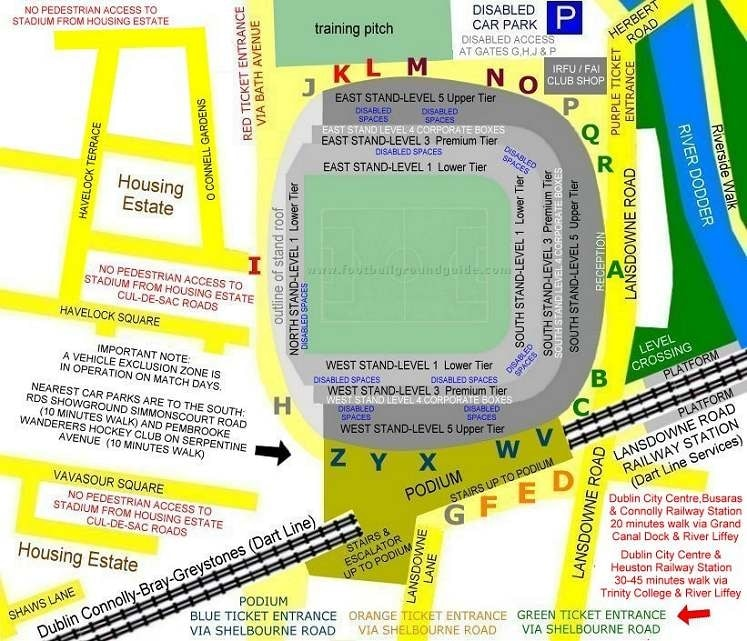 Ground Layout of Aviva Stadium