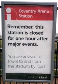 Coventry Arena Station Closure Sign