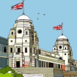 Old Wembley Stadium Twin Towers Drawing