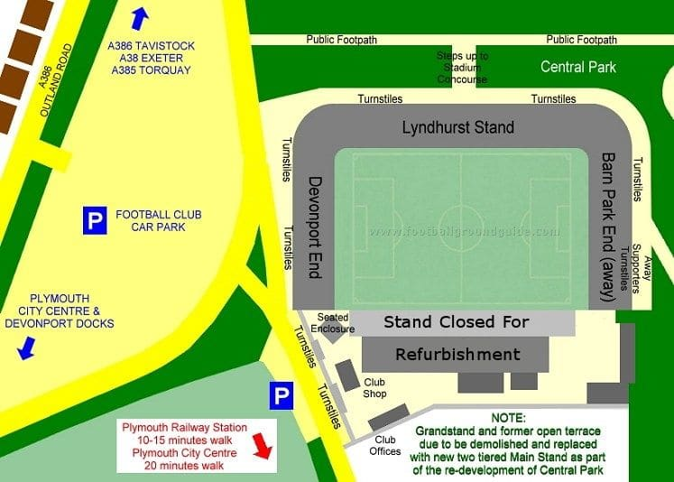 Ground Layout of Plymouth Argyle