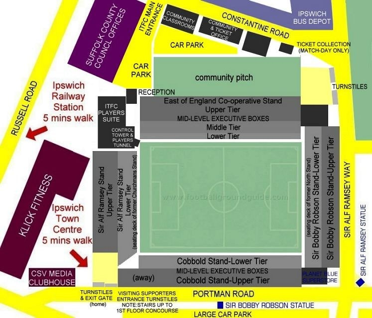 Ground Layout of Ipswich Town
