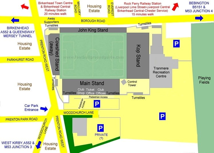 Ground Layout of Tranmere Rovers