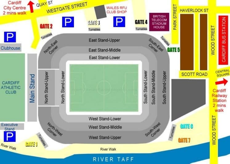 Ground Layout of Principality Stadium