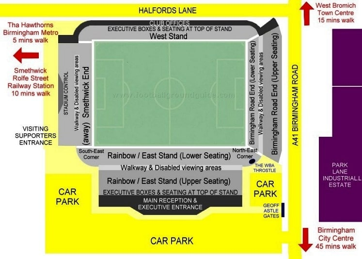 Ground Layout of West Bromwich Albion