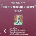 Welcome To The PTS Academy Stadium Sign