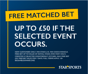 Star Sports Bet Promo Code 2021: Get up to £50 free bet