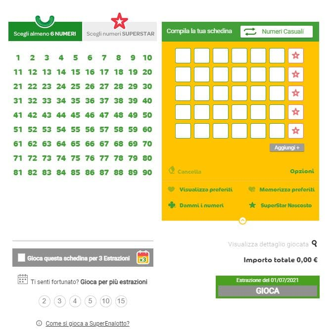 sisal lottery games from italy